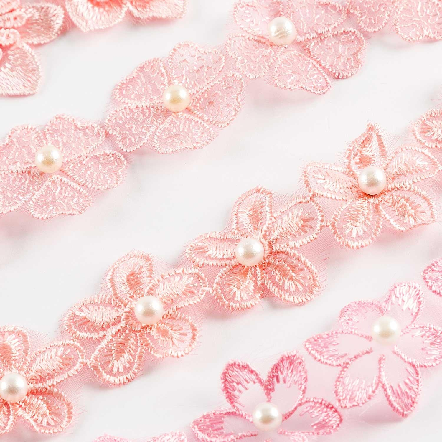 80 Pink Fabric Lace Flowers