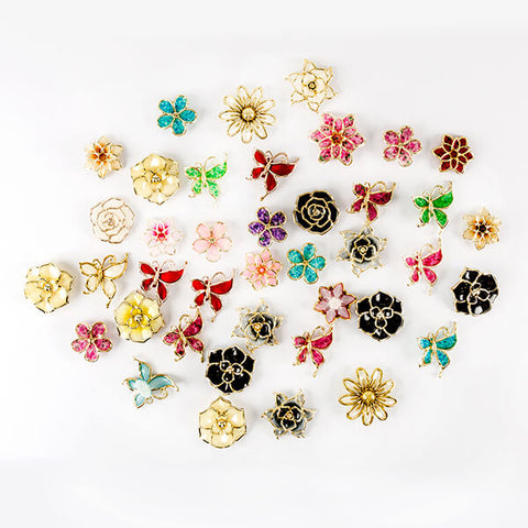 50 Assorted Coloured Fancy Flower & Butterfly Embellishments