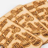 Set of 3 Laser Cut MDF Family Words