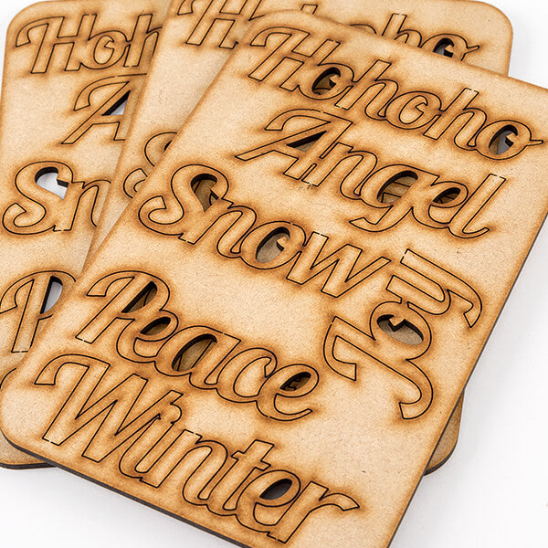 Pretty Gets Gritty - Set of 18 Laser Cut MDF Festive Words