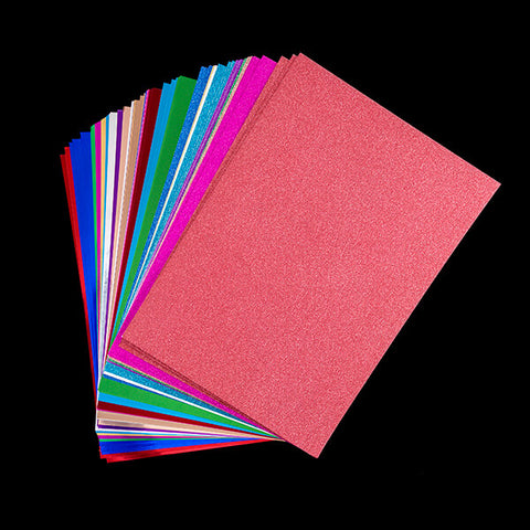 Set of 81 Glitter, Satin and Foil A4 Card Sheets