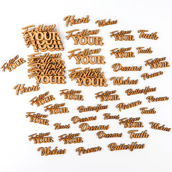 Lynette Jasper Set of 48 Laser Cut MDF Words - 'Follow Your'
