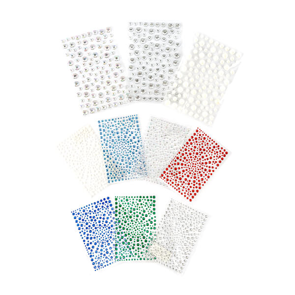 10 Packs of Mixed Size Self Adhesive Gems