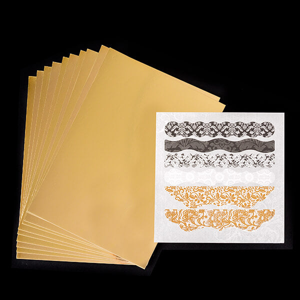 10 Sheets of Gold Mirror Card with Mixed Die Cut & Foiled Paper Pad