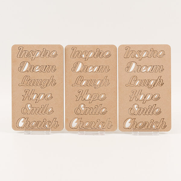 Lynette Jasper Pretty Gritty Set Of 18 Laser Cut MDF Words- 'INSPIRE', 'DREAM'