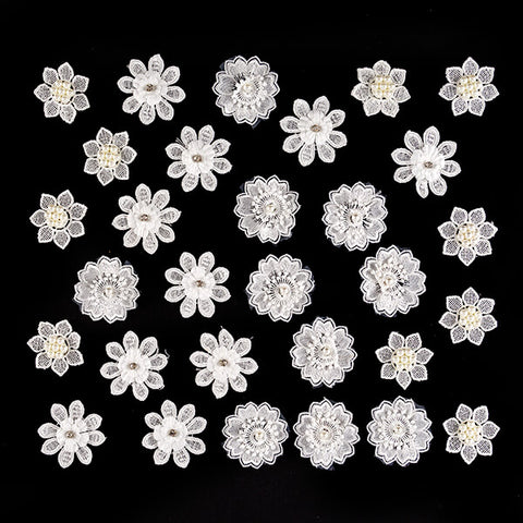 30 x Embellished Lace Flowers