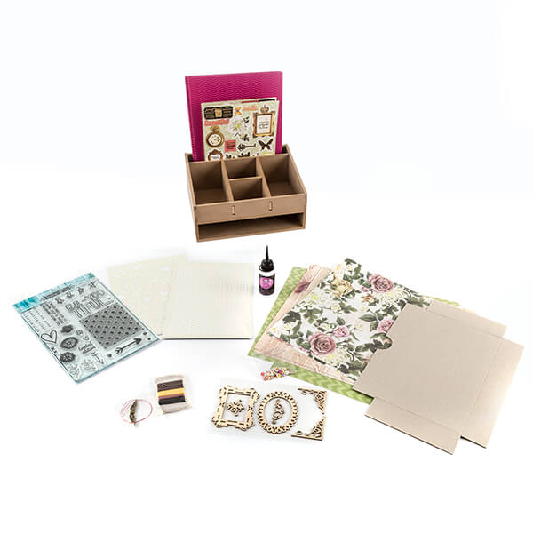 Lynette Jasper Treasured Moments MDF Desk Caddy with stamp, stencil & embellishment Collection
