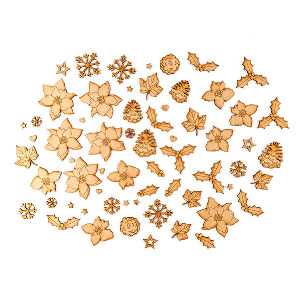 Festive MDF Embellishments - Pack of 60