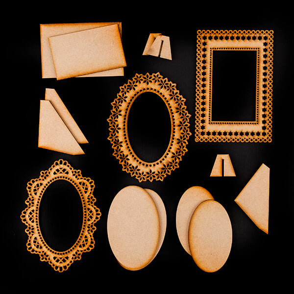 Decorate Me Ornate MDF Frames and Plaques - 15 Elements