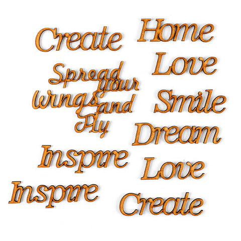 Set of 10 Large MDF Sentiments - Inspire, Create, Love