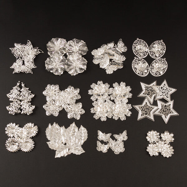 70 Piece 3D Metal Ornaments Kit - Antique Silver