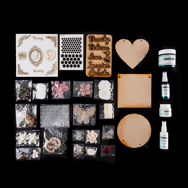 Lynette Jasper Intermediate Mixed Media Kit - Inc Chipboard, Mediums & Embellishments