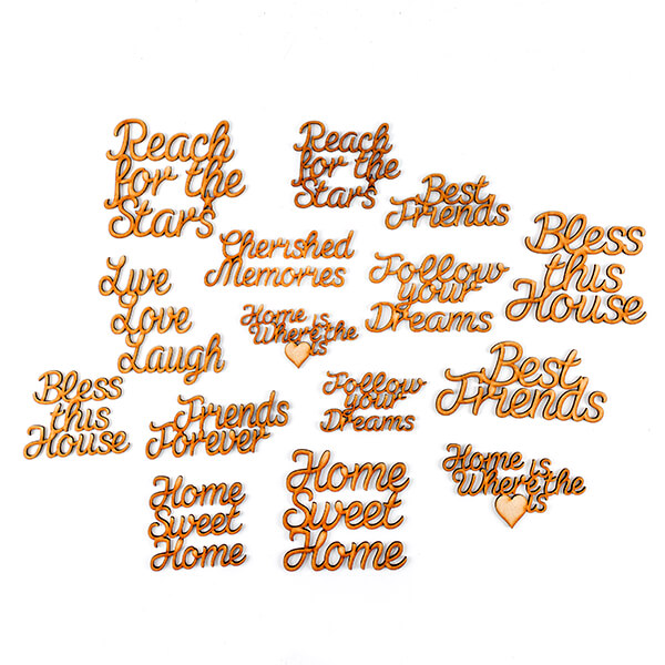 Set of 15 MDF Heart Warming Phrases