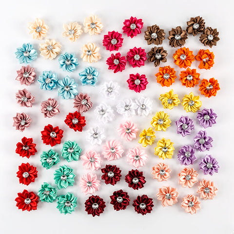 70 Diamante Satin Flowers - Mixed Colours