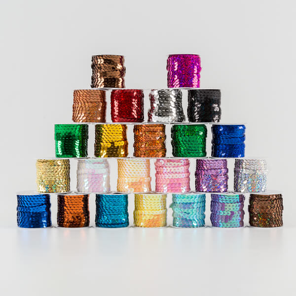 24 Reels Of Sequin String - 5m Per Reel