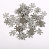 100 x Fabric Silver Snowflakes Frozen Glitter Wedding Party Craft