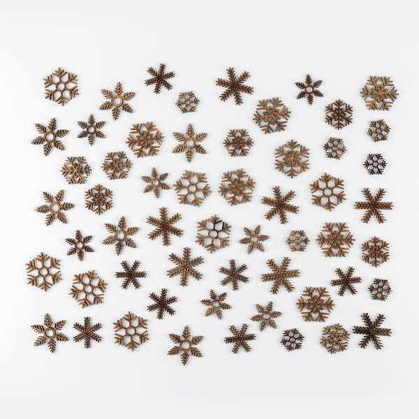 Pretty Gets Gritty - Set of 50 MDF Snowflakes