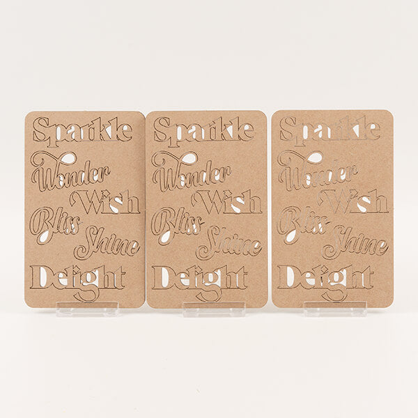 Lynette Jasper 18-Piece Laser Cut MDF Words- 'Sparkle'
