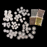 Ornamental Metal Flowers With Shimmer Stones - 328 Pieces