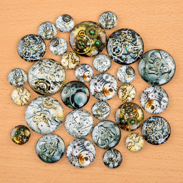 30 Assorted Glass Cabochons