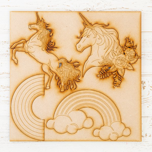 MDF Unicorns and Rainbows Decoration Kit