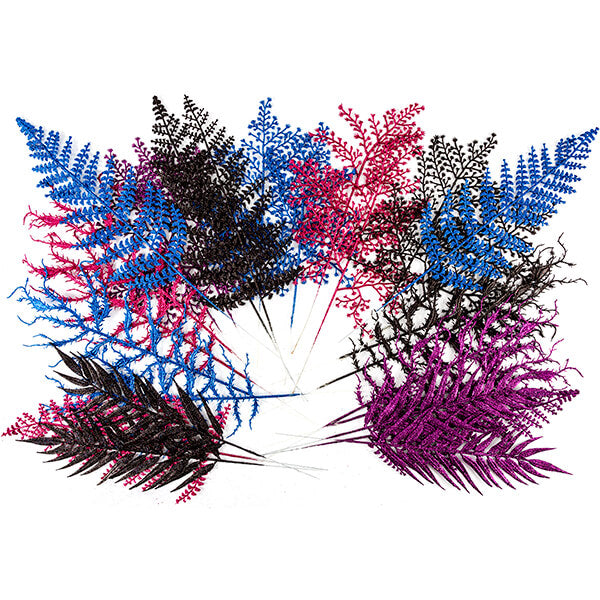 Set Of 32 Fantasy Glitter Leaves - Vibrants