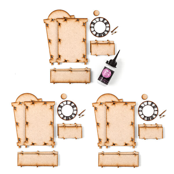 Pretty Gets Gritty - 3 x MDF Victorian Clock Sets With MDF Glue