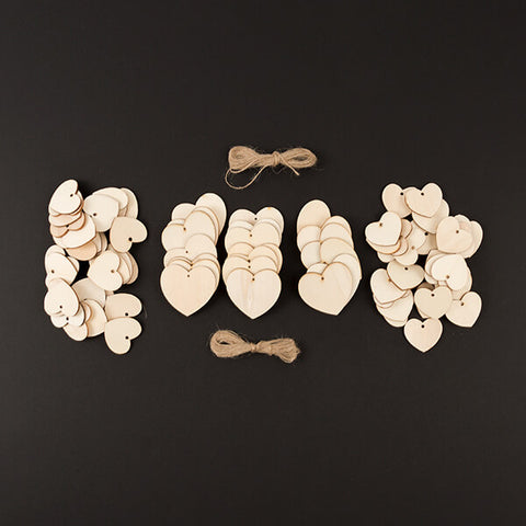 Wooden Heart Tags - 80 Piece Set & 4m Jute