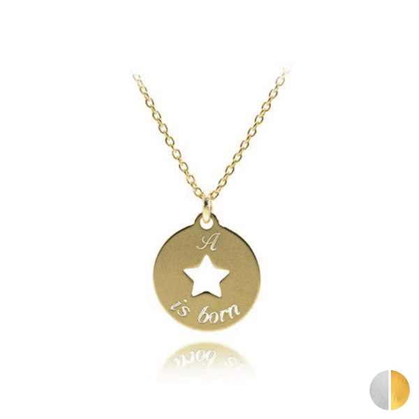 Colier Banut Star 12mm 925/Placat Aur 24K  TEXT GravoGifts