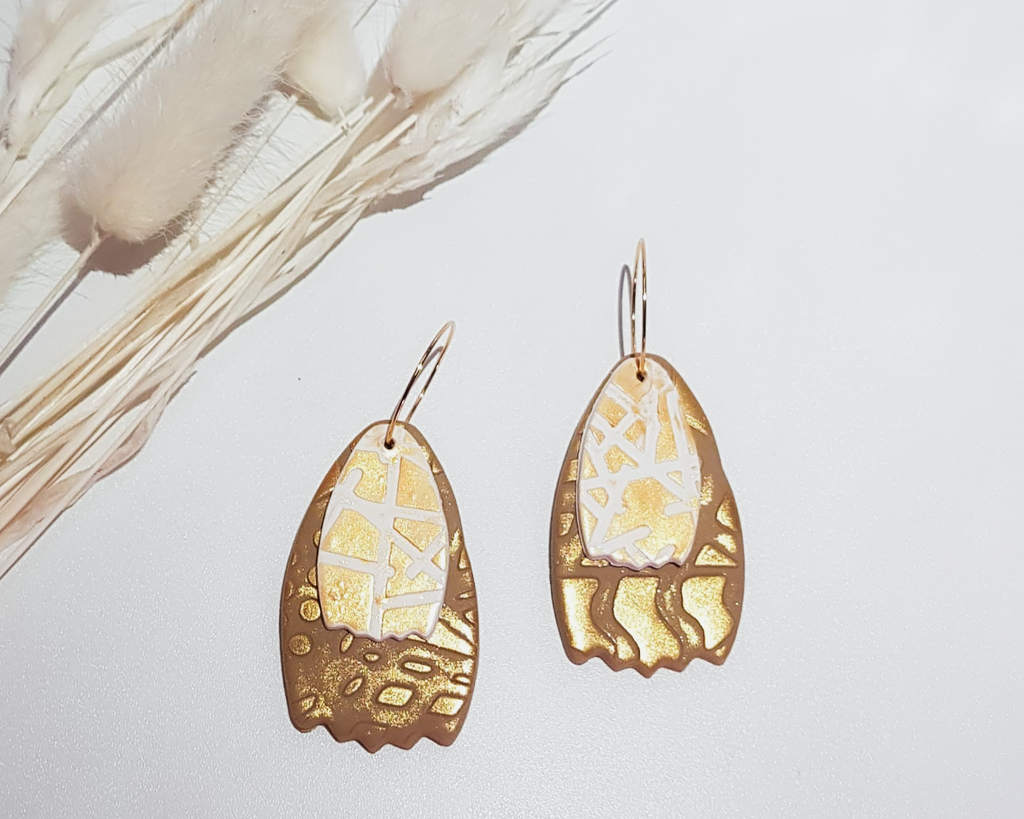 Brown and Gold Earrings