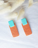 Orange and Teal Square Studs
