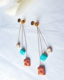 Orange and Teal Cube Dangle Earrings