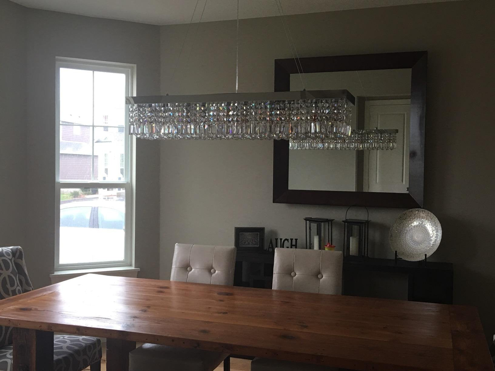 Customer showcases sofary lighting the instructions are pretty much like put the chandelier up and hang the crystals ha but worked it out and hung ourselves top does bow a bit arubaitofo Choice Image