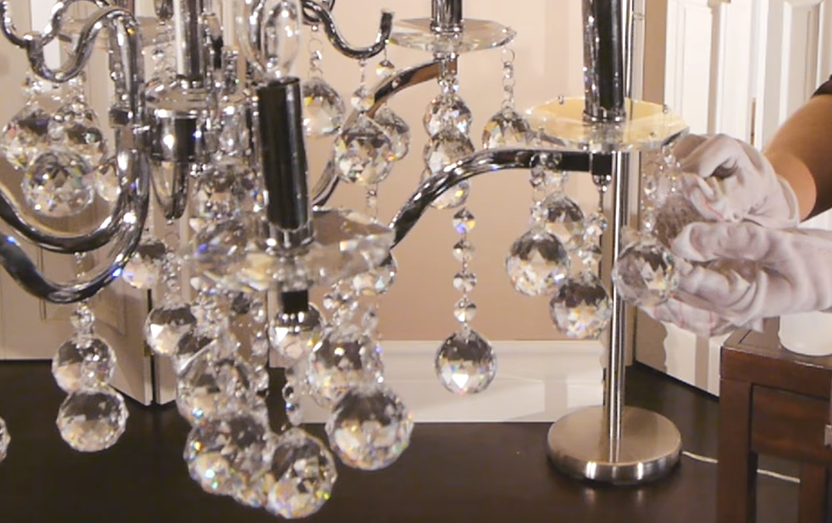 Clean chandelier with glass on