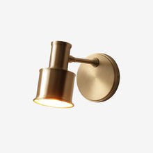 Minimalist Wall Lamp Brass Finish Lights on