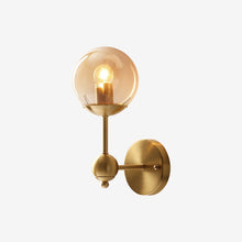 Brass Wall Lamp With Hooded Clear Globe