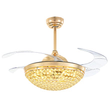 Retractable Crystal Ceiling Fan With Invisible Blades Warm White