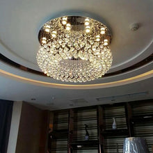 Petal Shape Raindrop Crystal Chandelier - Ceiling Light with Round Base - Living Room