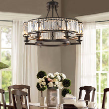 Contemporary Round Island Crystal Chandelier - Rustic Vintage Industrial design - Dining room