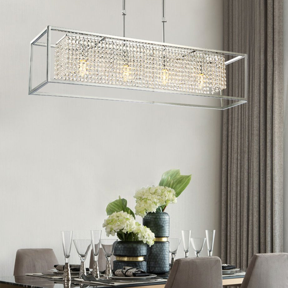 Modern Rectangular Chrome Frame  Pendant Light - Dining Room Crystal Chandelier - Dining room