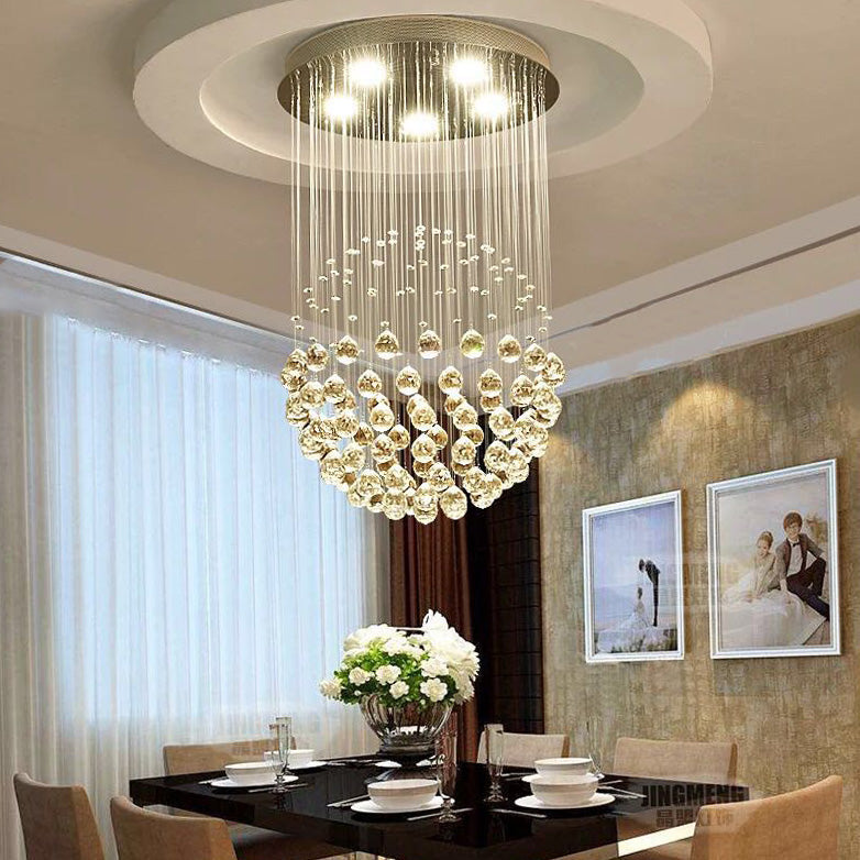 Sphere Raindrop Crystal Chandelier Ceiling Lights - Dining Room