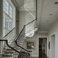 Modern Spiral Three Sphere Raindrop Crystal Chandelier - Staircase