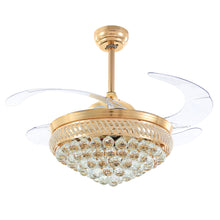 Gold Crystal Ceiling Fan With Blades Extended