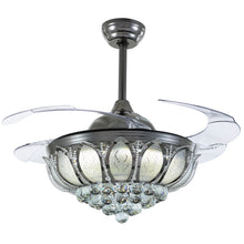 Crystal Ceiling Fan With Black Design With Blades Extended Warm Light