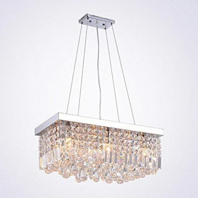 Contemporary Rectangular Raindrop Crystal Chandelier -Pendant Light - details