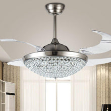 Retractable Crystal Ceiling Fan With Invisible Blades - Living Room