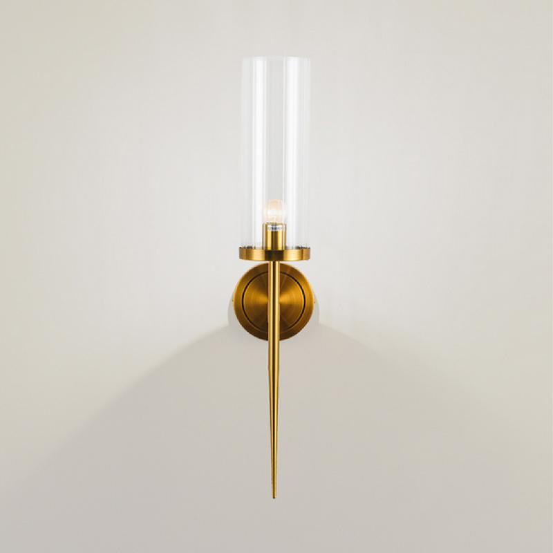 Wall Sconce Clear Glass Shade Brass Finish