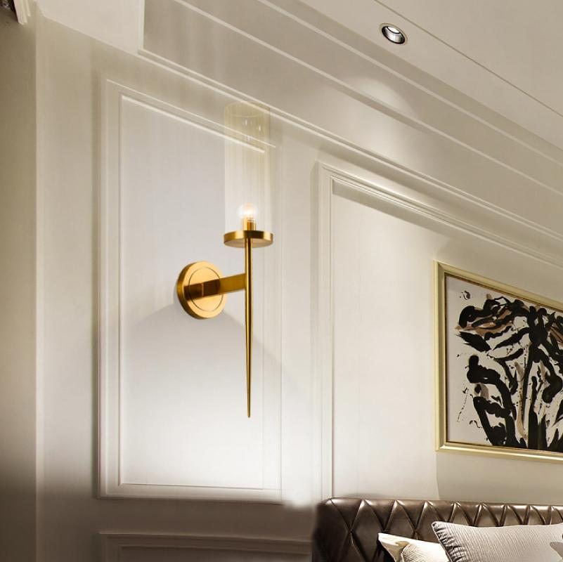 Wall Sconce Clear Glass Shade Brass Finish - Living Room