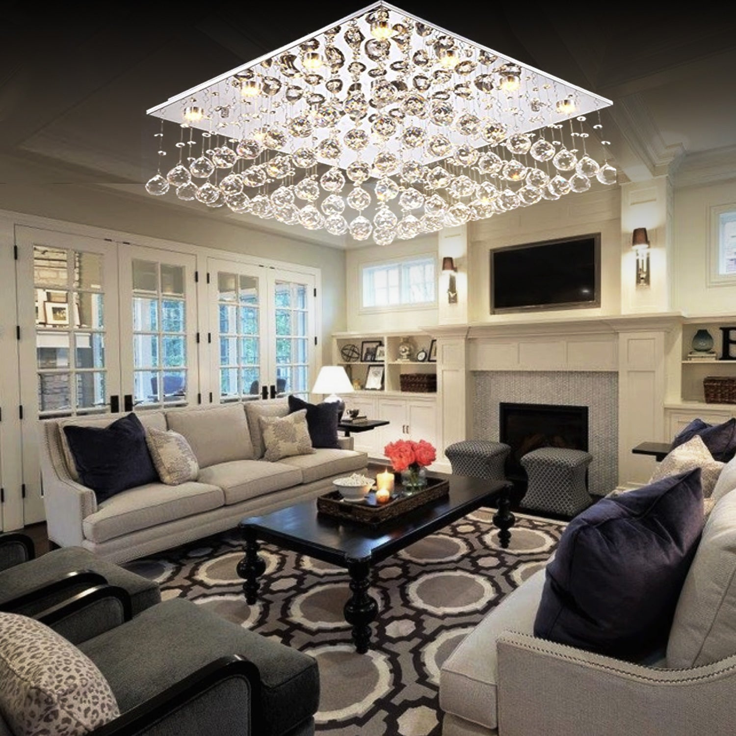 Square Raindrop Design Crystal Chandelier Living Room
