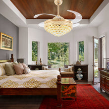 Gold Crystal Ceiling Fan - Bedroom